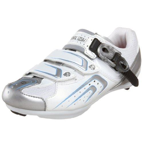 Pearl iZUMi Women's Race Road Cycling Shoe,White/Silver,37 D EU / US Women's 5.5 D