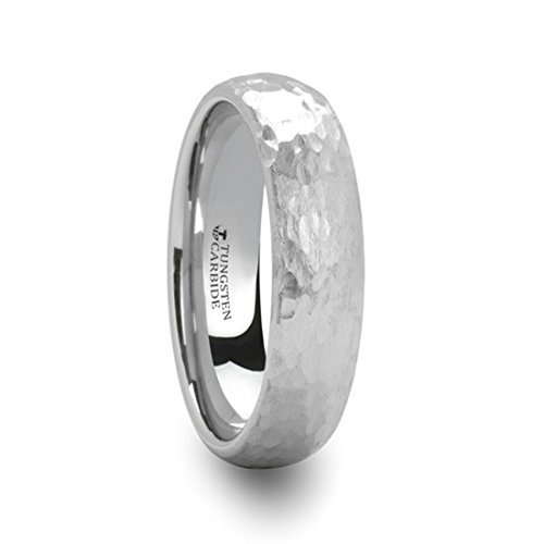 Thorsten Chandler Hammered Finish Domed White Tungsten Ring 6mm Wide Wedding Band with Custom Inside Engraved Personalized from Roy Rose Jewelry