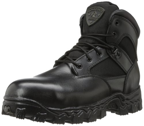 Rocky Men's Alpha Force 6 Inch Steel Toe Work Boot,Black,13 W US (Boot Leather Alpha)