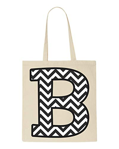 B Letter Chevron Alphabet Tote Set Beige Bag Customised Shopper aR547qw