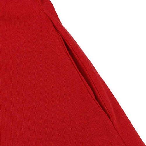 De Manches Femmes Sans Courte Plage Robe Au O dessus Cou Lâche Genou Partie Avec Rouge Angelof Du Poches 8pAqwn