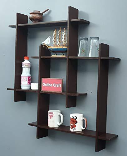 onlinecraft Wooden Wall Shelf aa499  Brown