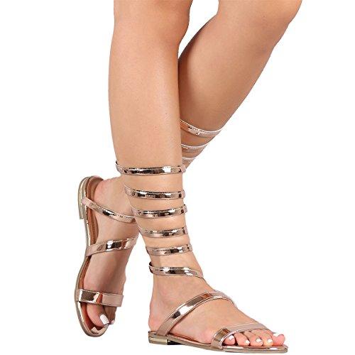 Bamboo Mujeres Open Toe Strappy Gladiador Bobina Sprial Tobillo Pierna Plana Sandalias Planas Zapatos De Oro Rosa