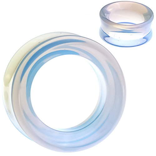 soscene Ear Plugs Gauges Hollow Tunnels Glass Opalite Double Saddle fit Pair (14MM-9/16 INCH) ()