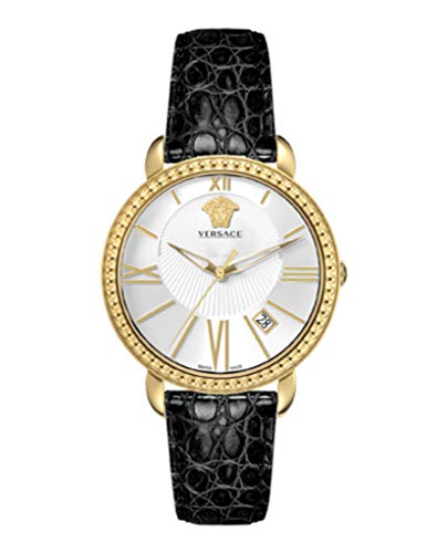 Versace VM602 0014, KRIOS, IP yellow gold 2N white dial black strap with date womens watch