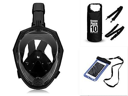 Forsea (Negro) (Gran tamaño) Tubo de respiración plegable Máscara de snorkel de