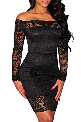 Shawhuwa Womens Sexy Floral Lace Sheer Off Shoulder Bodycon Mini Dress M Black 7 (Cocktail Dresses Sexy)