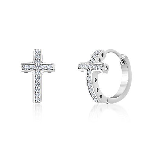 MIA SARINE 1/7 Cttw Cubic Zirconia Curved Cross Hoop Earrings for Women in Rhodium Plated Brass
