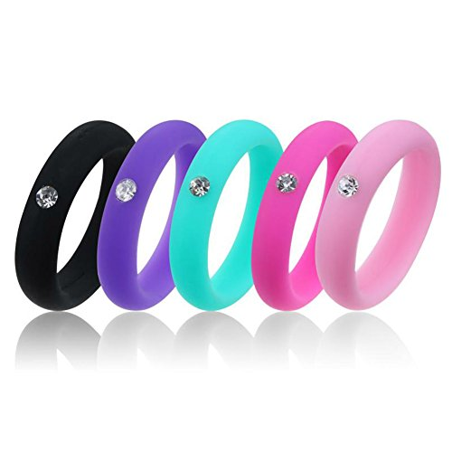 Women Silicone Wedding Band with Rhinestone for Athletes, Thin Rubber Ring Alternative Workout - Black, Purple, Pink, Hot Pink, Lime Green/Teal
