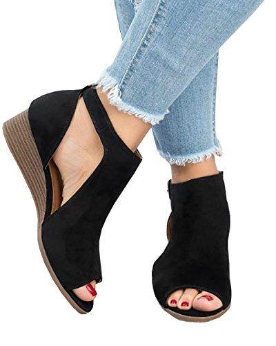 Out Wedge PiePieBuy Sandals Women's Black Ankle Peep Suede Strap Platform Toe Shoes Espadrille Cut f6qUqwp