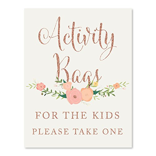 Andaz Press Wedding Party Signs, Faux Rose Gold Glitter with Florals, 8.5x11-inch, Activity Bags for the Kids Please Take One, 1-Pack, Colored Decorations