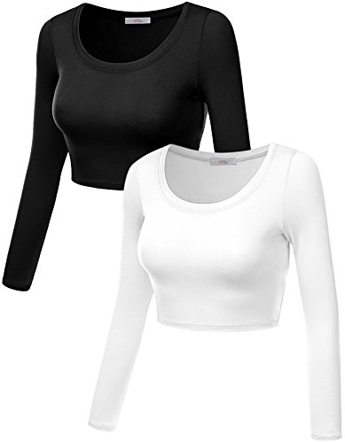 Simlu 2 Pack Long Sleeve Short Cropped Top For Women, Short Summer - Shipping Day What Is 2