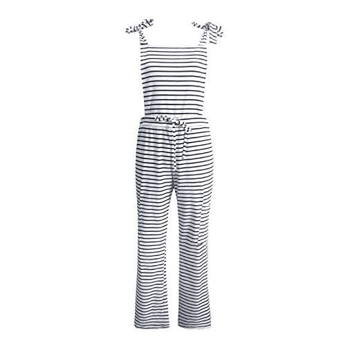 Thenxin Women's Casual Overalls Casual Striped Pocket Trousers Dungarees Bib Pants(Black,XL)