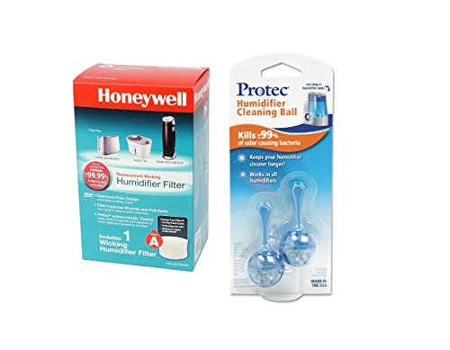 Honeywell Pads Filter (Honeywell HAC-504AW Humidifier Replacement Filter, Filter A, and ProTec PC2-V1 Humidifier Tank Cleaning Cartridges)