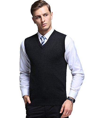 Kinlonsair Mens Casual Slim Fit Solid Lightweight V-Neck Sweater Vest,Black,Small (US)