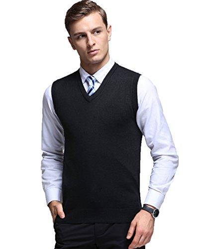 Kinlonsair Mens Casual Slim Fit Solid Lightweight V-Neck Sweater Vest,Black,Medium(US)