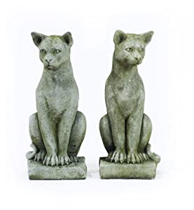 Pair Of Stone Cast Beautiful Cat Garden Ornaments Feline Figures
