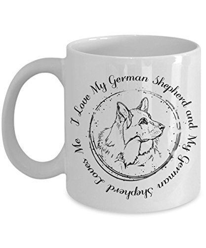 I Love My German Shepherd Mug - 11oz Alsatian Cup - White German Shepherd Coffee Mug