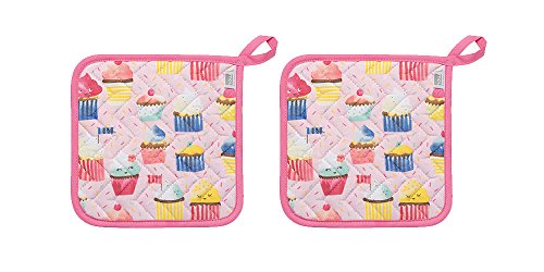 Now Designs Basic Potholders, Set of Two, Cupcakes
