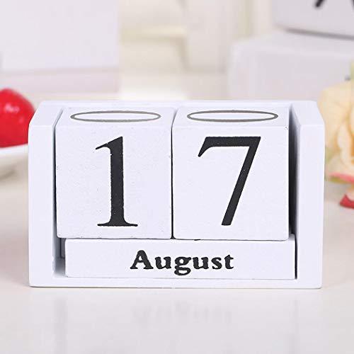 ICCUN DIY Wood Block Home Office Decor Perpetual Desk Calendar Decoration Artcraft Ornaments ()