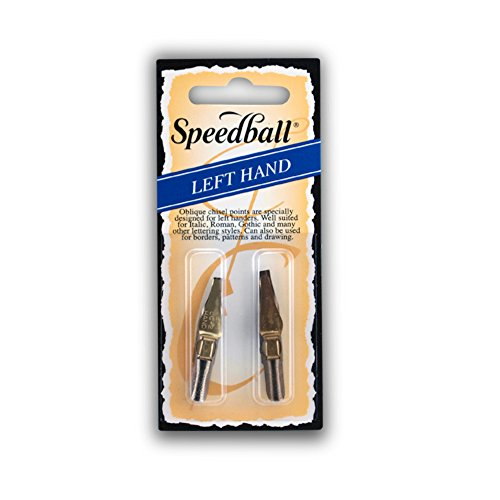 Speedball Lettering & Drawing Pen Nibs, Left-Handed Design, Flat Stainless Steel Tip, LC1 & LC2, Pack of 2 (031052)