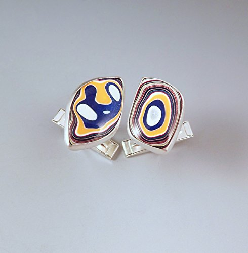 Fordite- Michigan Colors- U of M- Michigan Jewelry- Men's Jewelry- Sterling Silver Fordite Cufflinks by RedPaw