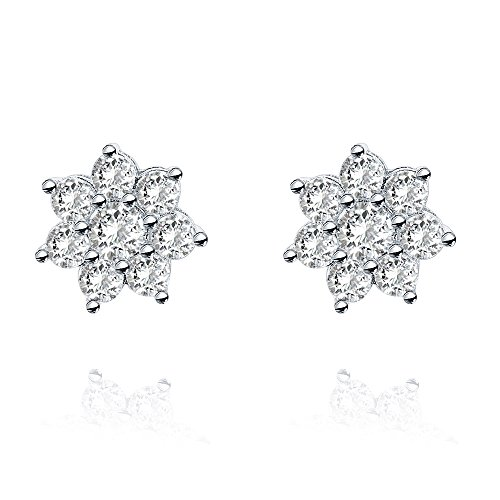 PAVOI 14K White Gold Plated Sterling Silver Post Flower Halo Cluster Cubic Zirconia Stud Earrings for Women | White Gold Earrings