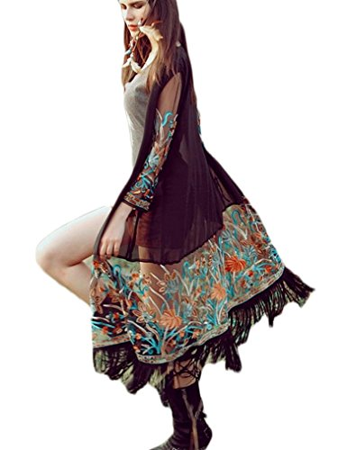 OURS Ethnic Floral Retro Fringe Tassel Long Chiffon Cardigan Blouse Shirt Cover Up (XXL)