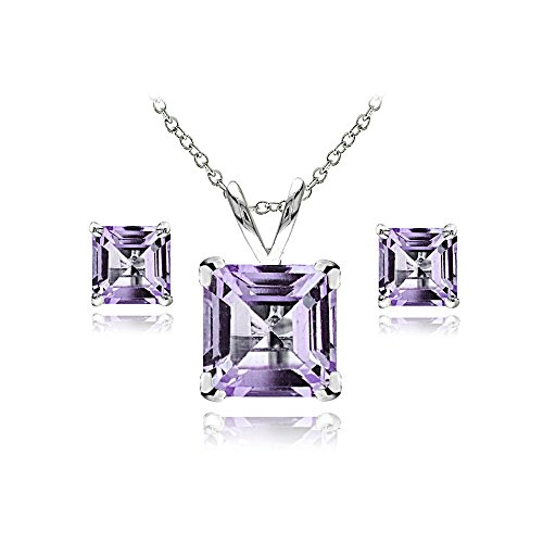 GemStar USA Sterling Silver Amethyst Square Solitaire Necklace and Stud Earrings Set