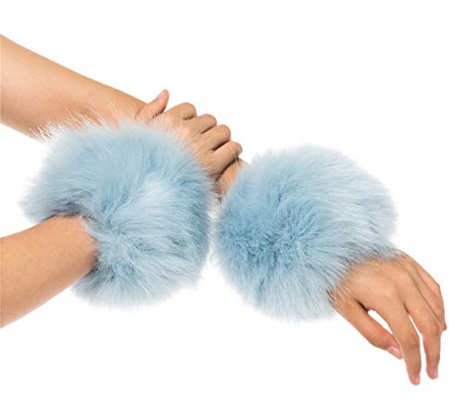 Lucky Leaf Women Winter Wrist Warmers Faux Fur Soft Cuffs Band Ring (C1-Light Blue)