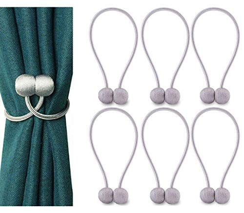 DELISIx 3 Pairs Magnetic Curtain Tieback 16 Inch Decorative Rope Holdback Simple Modern Tie Backs Holders for Home Curtains, Grey (Holdback Decorative)
