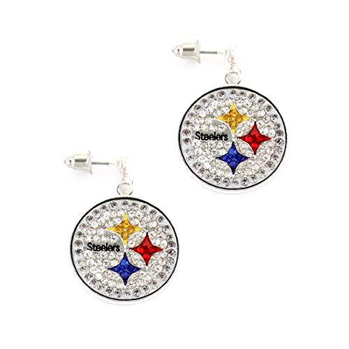 NFL Football Pittsburgh Steelers Crystal Logo Earrings in Clear, Black, Red, Yellow and - Logo Earrings Crystal