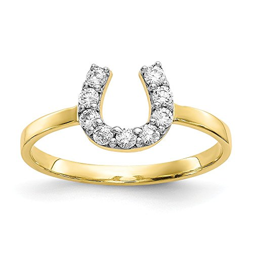 10k Yellow Gold Cubic Zirconia Cz Horse Shoe Band Ring Size 6.00 Good Luck Fine Jewelry Gifts For Women For Her