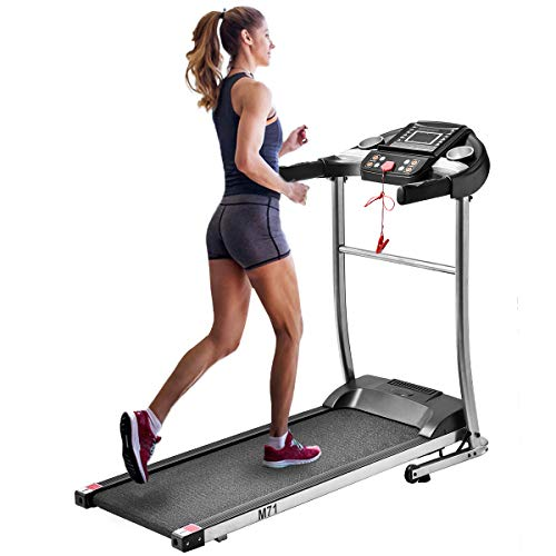 Yijian Electric Folding Treadmill, Easy Assembly Motorized Running Machine with Rolling Wheels for Home Use