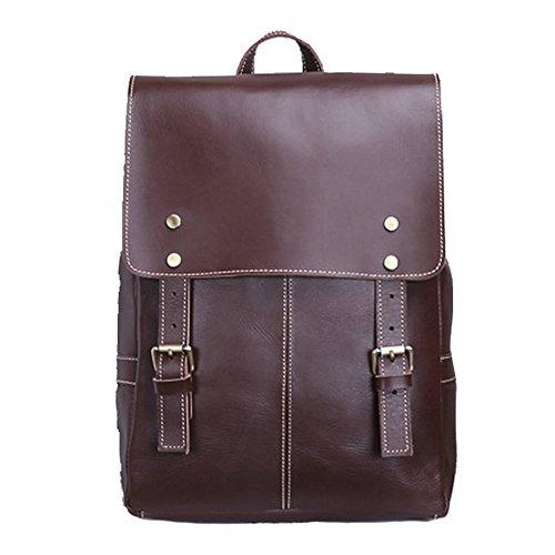 Gendi vendimia vacuno de cuero de vaca mochila mochila bolso portátil bolsa de viaje de la escuela, bolso de mochila diaria casual (marrón) marrón