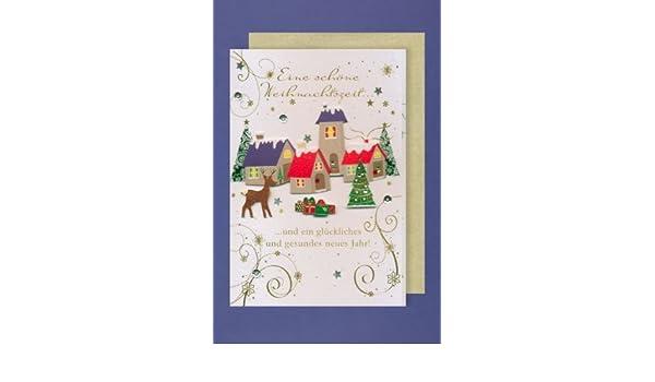 ... B6 - Porto libre posible, personalizable, formato vertical 12,5 x 18,5 cm con diseño refinado de Navidad con bordados: Amazon.es: Oficina y papelería