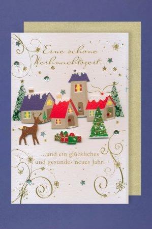 natural tarjeta de felicitación para Navidad deseos, Juego con sobres, B6 – Porto libre