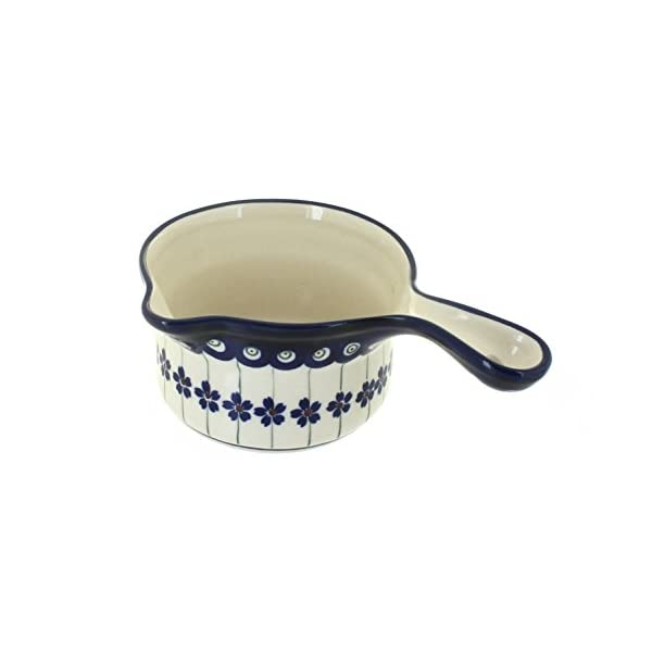 Blue Rose Polish Pottery Flowering Peacock Sauce Pot