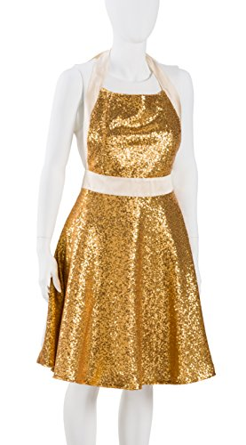 Aprons by JeM Flouncy Gold Sequin Hostess Apron, Hand Made in USA, Machine Washable