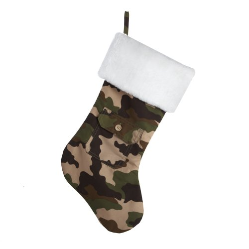 Kurt Adler Camouflage Stocking with Faux Fur Cuff, (Camo Christmas Stocking)