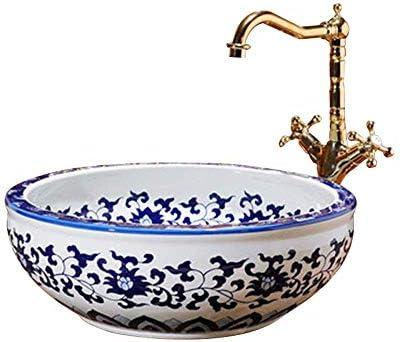 カウンタートップの洗面器の流しの陶磁器の洗面器、円形のカウンタートップの洗面器のシンク、41X15 cm(蛇口は含まれていません)