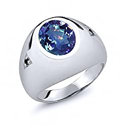 Blue Mystic Quartz Black Diamond 925 Sterling Silver Ring