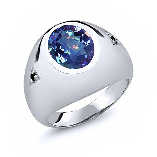 Gem Stone King 4.07 Ct Millennium Blue Mystic Quartz Black Diamond 925 Sterling Silver Men's Ring (Size 7)