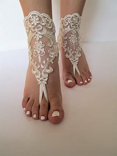 (Beach wedding barefoot sandals,Bride beach sandals,gold lace barefoot sandals,anklets)