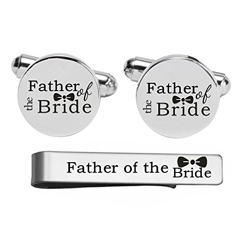 Kooer Custom Personalized Wedding Engraved Cuff Links Tie Clip Set Engrave Wedding Cufflinks Jewelry Gift (Father of the bride set) by Kooer