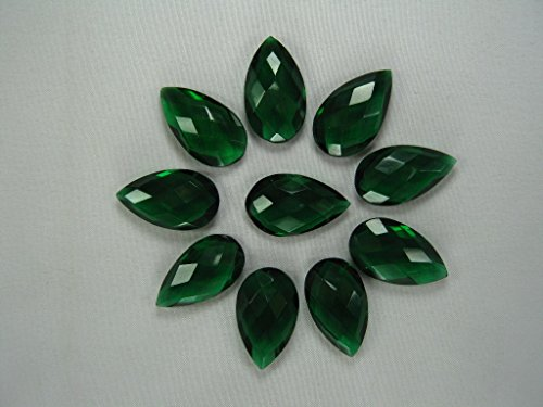 Loose Emerald Briolettes, 15x25 mm Teardrop Briolette Beads, 2 Stones Listing (25mm Faceted Briolette Bead)