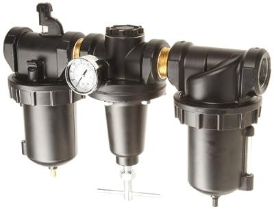 "Parker C628-08FRLWJCWR Three-Unit Combo Compressed Air Filter/Regulator/Lubricator, 1"" NPT, Metal Bowl with Sight Gauge, Auto Drain, 40 Micron, 240 scfm, Relieving Type, 0-125 psi Pressure Range,"