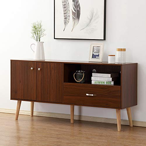 soges Premuim TV Stand/Buffet Table/Console Table Entertainment Center Media Storage Wood Console with Doors and Drawers Living Room Furniture, Walnut HGZ007-WN
