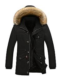 Men's Hooded Faux Fur Lined Warm Coat Outwear Winter Jacket Plus Size (M-5XL)