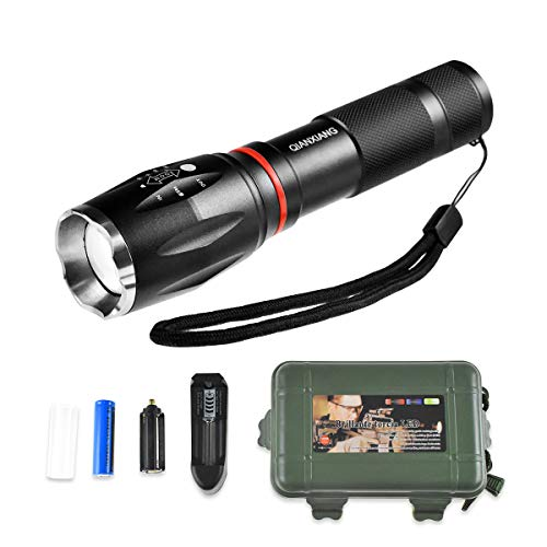 QIANXIANG T6 LED Tactical Flashlight with Magnetic Base, High Lumen Bright Power Torch Rechargeable with Water Resistant,Adjustable Focus,5 Light Mode compatible Camping,Portable Outdoor